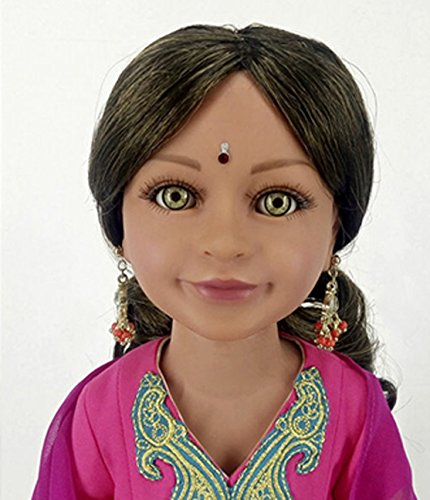 Diya 18'' Slim Indian Doll with Green Eyes in Gift Box