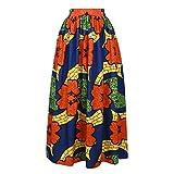 YSJERA Lady's Pleated Maxi Skirt High Waist A-Line Boho Floral Long Beach Skirts (L, Royal Blue)