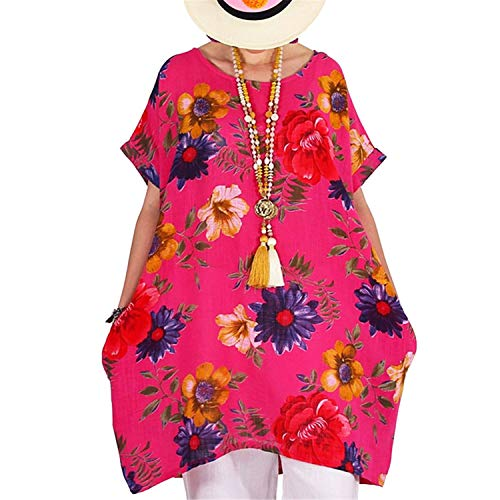 ♡Londony♡ Women's Short Sleeve High Low Loose T Shirt Basic Tee Tops Plus Size O Neck Swing Floral Tunic Tops S-5XL Hot Pink (Mens Fragrance Discount Silver)