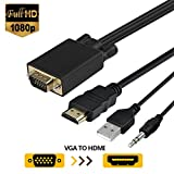VGA to HDMI Cable, VGA Male to HDMI Male  Adapter Converter Cord with Audio For Connecting Old PC, Laptop with a VGA Output to New Monitor, HDTV (6 Feet/1.8 Meters)