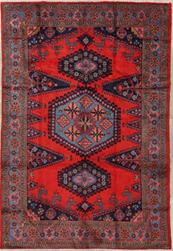 Rug Source Traditional Viss Persian Oriental Hand Knotted Wool Area Rug 7x10 Red (10' 2
