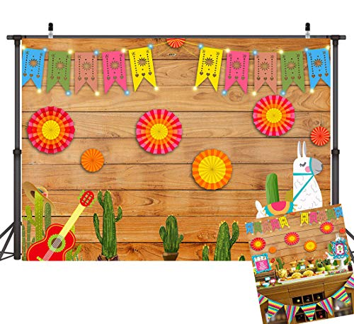(Art Studio 7x5ft Summer Mexican Fiesta Theme Photography Backdrop Mexico Cactus Guitar Party Background Luau Party Theme Cinco De Mayo Birthday Flags Paper Flowers Banner Photo Studio Props Vinyl)