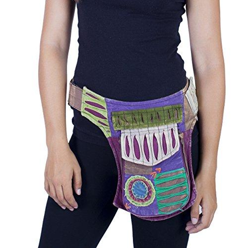 Razor cut fanny cotton fanny pack Cotton Waistpack Hip Burning Man Renaissance Natural Eco Festival Belt Travel Money -