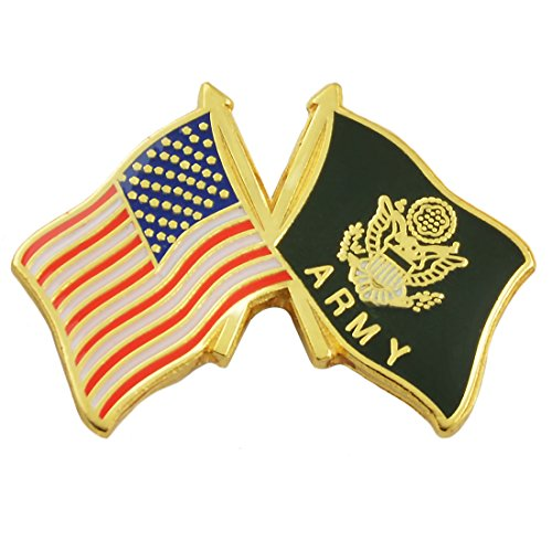 The Masonic Exchange American Flag & Army Flag Red & Black Lapel Pin - 1