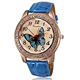 BUYEONLINE Women's Fashion Rose Gold Plated Pu Leather Straps With Rhinestones Casual Watch Blue
