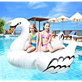 Greenco Giant Inflatable Swan Pool Float Lounger, 75