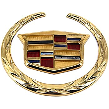 "4/"" Truck Grill Grille 3D Logo Emblem Badge Sticker Gold Cadillac Wreath Crest"