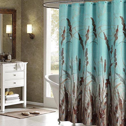DS BATH Montana Green Shower Curtain,Aqua Polyester Fabric Shower Curtain,Plants Shower Curtains for Bathroom,Floral Bathroom Curtains,Print Waterproof Shower Curtain,62