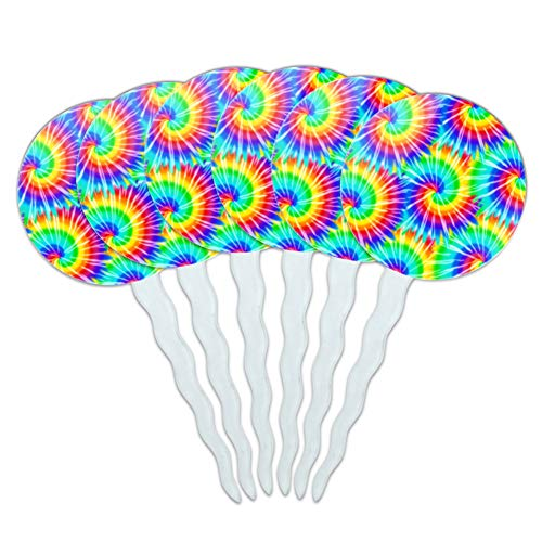 GRAPHICS & MORE Tie Dye Pattern Cupcake Picks Toppers Decoration Set of 6]()