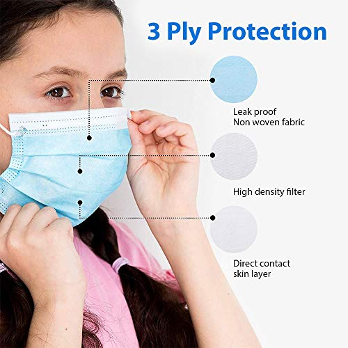 50 pcs Colorful Kids Face Mask 3 Ply Breathable Disposable Protective Masks for Children,Suitable for Outdoors, School, Metro Bus, Travel