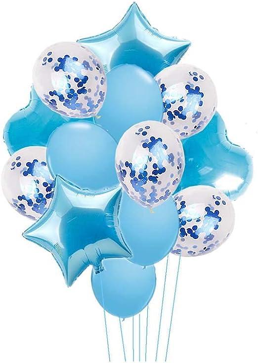 Nicetruc Globos 14pcs del Partido de la celebraci/ón del Partido Disfraces de 18 Pulgadas de la Estrella y los Globos del coraz/ón 12 Pulgadas Globo de l/átex Confeti Globo Azul