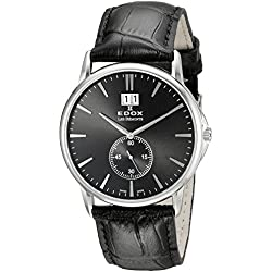Edox Men's 64012 3 NIN Les Bemonts Stainless Steel Watch With Black Leather Band