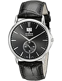 Men's 64012 3 NIN Les Bemonts Stainless Steel Watch with Black Leather Band