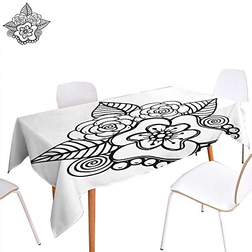 longbuyer Christmas Tablecloth Hand Drawn Fantasy Flowers Coloring Page - Illustration Batik Abstract Adult Animal Markings Boho Rectangle/Oblong W 60