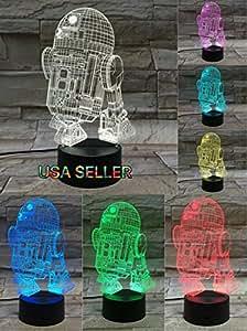 LE3D 3D Optical Illusion Desk Lamp/3D Optical Illusion Night Light, 7 Color LED 3D Lamp, Star Wars 3D LED For Kids and Adults, R2D2 Light Up