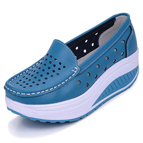 Womens PU Leather Hollow Upper Loafers Slip On Shoes Platform Wedge Sneakers Blue RNPPieae