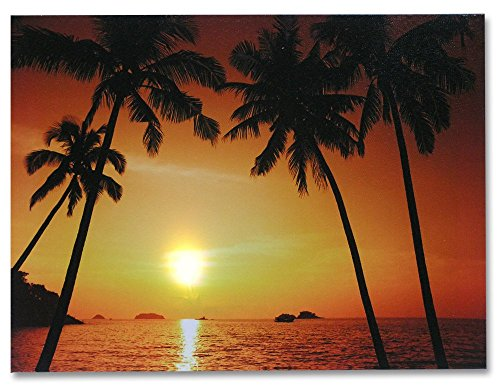Beach-Sunset-LED-Canvas-Print-Light-Up-Wall-Decoration-Tropical-Ocean-Sunset-with-Palm-Trees-12x16-Inch