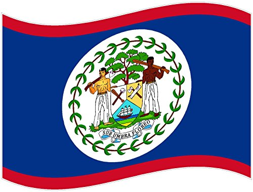 Waving flag Belize 3x5 inches world country america united states color sticker state decal vinyl - Made and Shipped in ()