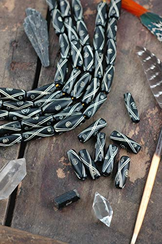 Lattice Barrel Pipe : Black & White Large Hole Hand Carved Tube Bone Beads, 8x26mm, Natural, Boho, Tribal Jewelry Making Craft Supply, 8 pcs #WSW_9067