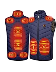 Heated Vest, Electric Heated Jacket for Men Women, USB Charging Heated Vest with 11 Heating Pads for Outdoor Hiking