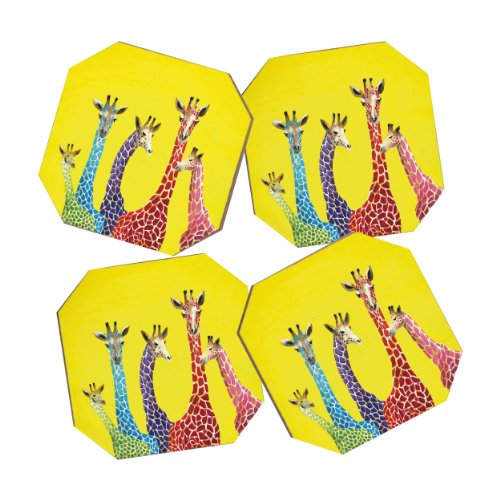 Coaster Design Photo - Deny Designs Clara Nilles Jellybean Giraffes Coasters, Set of 4