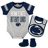 Outerstuff NCAA Penn State Nittany Lions Newborn & Infant Blitz Bodysuit, Bib & Booties, Heather Grey, 12 Months