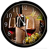 wine and grape kitchen clock - Glow In the Dark Wall Clock - Wine Glasses & Grapes #6