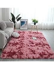 سجاد أشعث عصري رقيق ناعم الملمس لامع منطقة البساط كبير لغرفة المعيشة غرفة النوم حصيرة أرضية حديث 160 x 230cm , 63 x 90'' Watermelon red