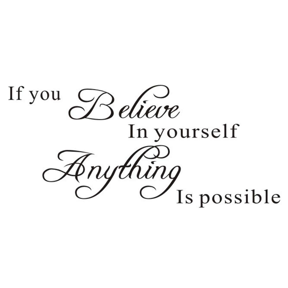 If You Believe in Yourself Proverbs Wall Sticker, Anything is Possible Wall Decal, Warm Inspirational Quotes Vinyl Decor for Office, Classroom, Study Room, Gym, Living Room (11.7×27.7In)