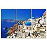 Canvas Print Wall Art Painting For Home Decor Oia Town On Santorini Island Greece. Traditional And Famous White Houses And Churches With Blue Domes Over The Caldera Aegean Sea 3 Piece Panel Paintings Modern Giclee Stretched And Framed Artwork The Picture