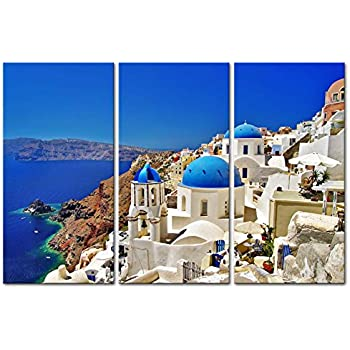 Canvas Print Wall Art Painting For Home Decor Oia Town On Santorini Island Greece. Traditional And Famous White Houses And Churches With Blue Domes Over The Caldera Aegean Sea 3 Piece Panel Paintings Modern Giclee Stretched And Framed Artwork The Picture For Living Room Decoration Landscape Pictures Photo Prints On Canvas