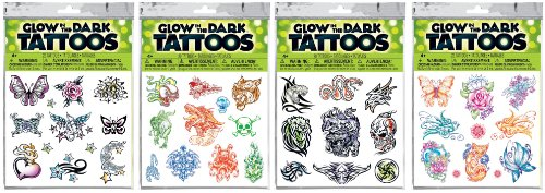 Savvi Assorted Glow-in-the-Dark Temporary Tattoos -