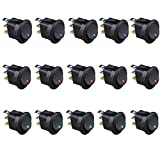 Etopars™ 15Pcs Car Boat Truck Rocker Round Dot Toggle LED Switch Blue Red Green Light On-off Control 12V 16A