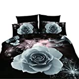 zhENfu 3D Reactive Other Bedding Sets 4 Pcs for Queen Size Contain 1 Duvet Cover 1 Bedsheet 2 Pillowcases from China,Queen,Black
