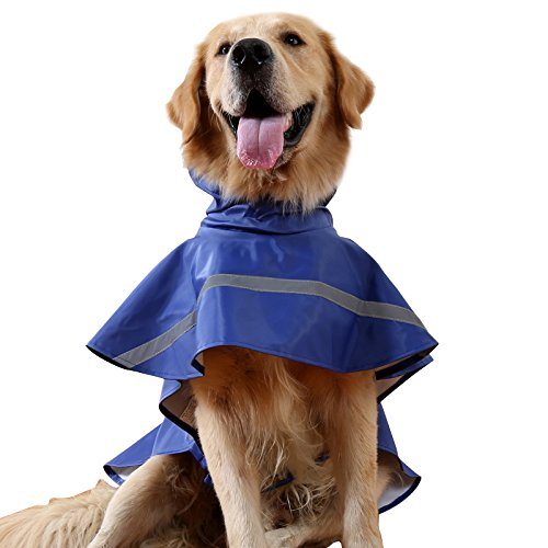 BINGPET BA1065 Adjustable Dog Raincoat Pet Puppy Lightweight Rain Jacket Poncho with Strip Reflective , Navy Blue S/M (Raincoats With Hoods For Dogs compare prices)