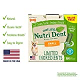 Nylabone NutriDent Natural Dental Chew Treats Fresh Breath, Small, 64 Count
