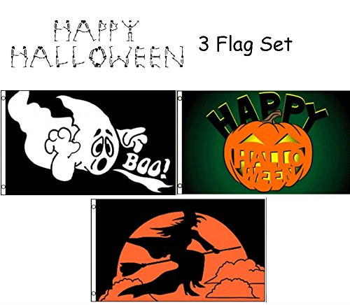ALBATROS 3 ft x 5 ft Happy Halloween 3 Flag Set #6 House Banner Grommets for Home and Parades, Official Party, All Weather Indoors Outdoors -