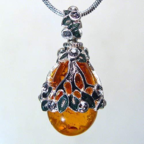 925 Sterling Silver Necklace Amber Egg Pendant Swarovski Crystal Enamel Silver-plated Chain