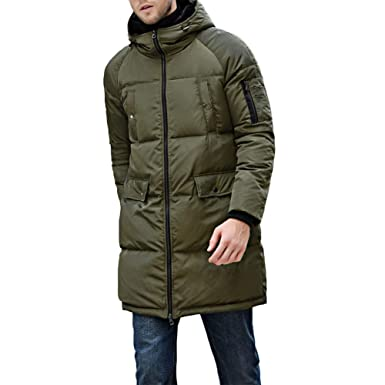 a68b8dafc71 Image Unavailable. Image not available for. Color: Michealboy Men's  Packaged Down Puffer Jacket with Hooded Long Coat Black