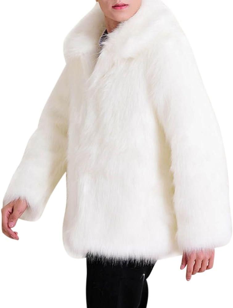 Froomer Men Long Sleeve Faux Fur Jacket Luxury Outwear Coat