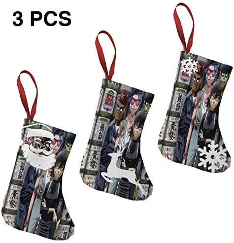 クリスマスの日の靴下 (ソックス3個)クリスマスデコレーションソックス 音楽ゴリラズGorillaz クリスマス、ハロウィン 家庭用、ショッピングモール用、お祝いの雰囲気を加える 人気を高める、販売、プロモーション、年次式