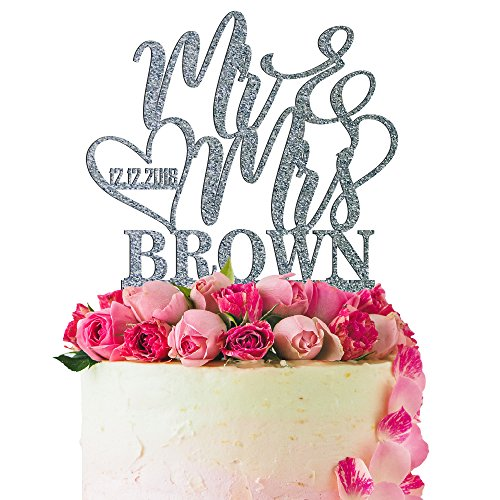 (Personalized Wedding Cake Topper Customized Wedding Date, Mr. and Mrs. Last Name 4 Color Type and 24 Colors Design 5 (Glitter Colors))
