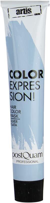 PostQuam - Mascarilla Color Expression, Tinte temporal de pelo - Color Plata - Pack de 3 unidades - 60 gr