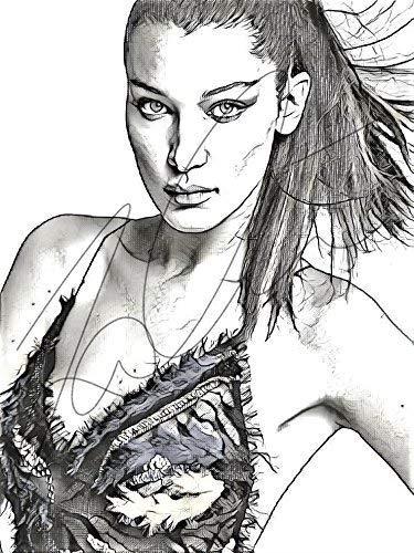 Amazon Com Bella Hadid Sketch Drawing Print Poster Hand