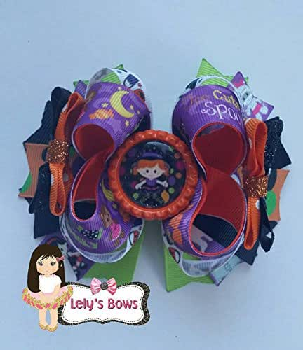 Boutique Halloween Hair Bow With Clips For Kids Hair Hair Pumpkin useful P6K7