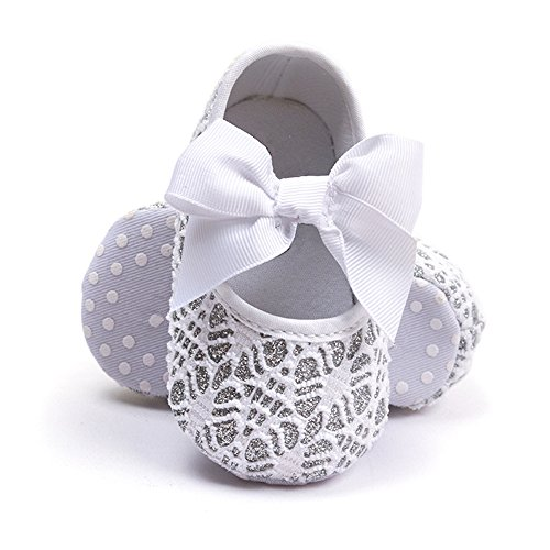 R&V Baby Girl Moccasins Princess Sparkly Premium Lightweight Soft Sole Prewalker Toddler Shoes (S:0-6 Months, Crochet White) (Girls Crochet Outfits)