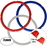 Silicone Sealing Rings for 5 qt or 6 qt Instant Pot Models- Color Coded Sweet and Savory Ring - No More Beef Smell in your cake. Includes Silicone Oven Mitts - 3 Pack Instant Pot Accessories