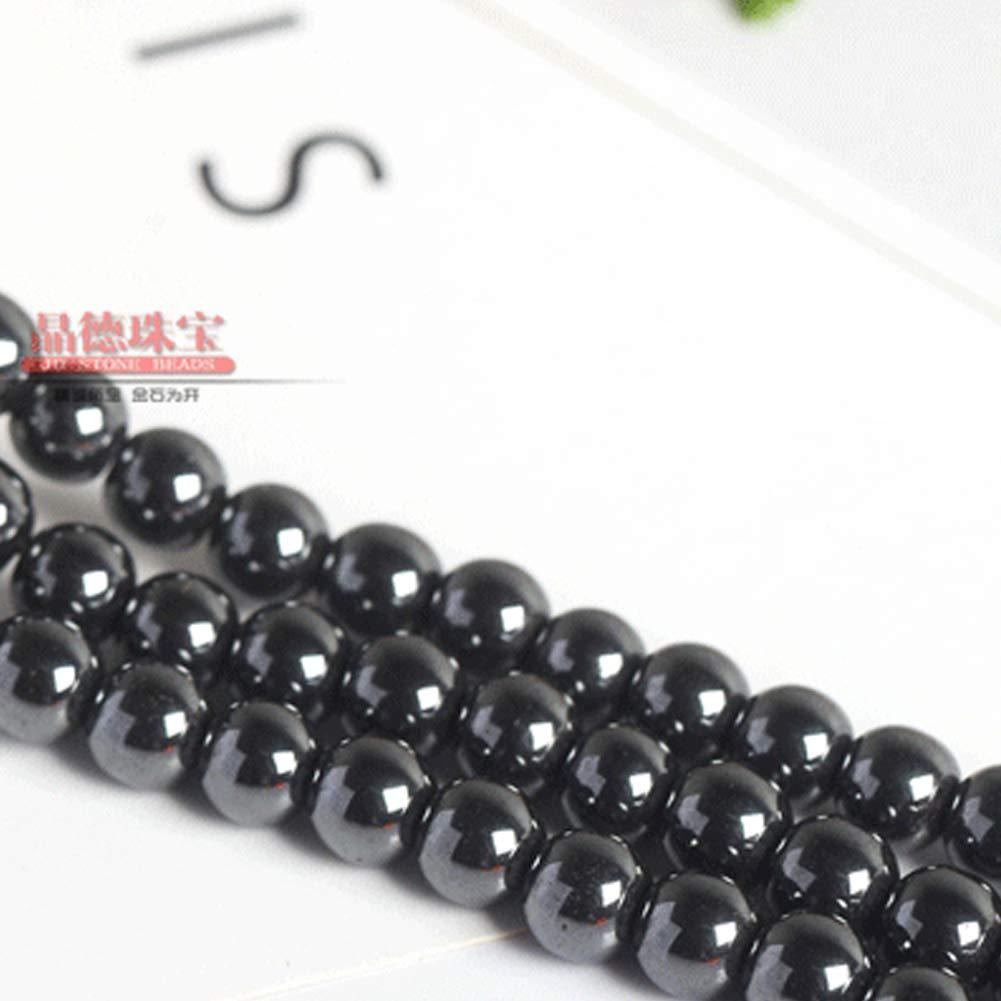 Wudi Piedras Preciosas Perlas de hematita Naturales 50 Granos Flojos Ciclo Provisiones 8m m Negro