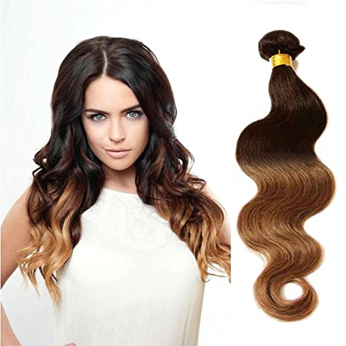 eCowboy 6A Brazilian Human Hair Body Wave Hair Bundle On Sale Best Quality Hair Extensions Weft 100 Human Hair Weave GUARANTEED Dip Dyed Ombre Two-Tone Color #4/#30 - 16 Inch