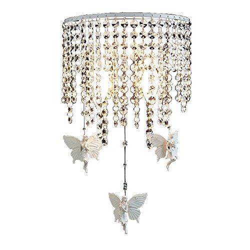 FAZH Simple Europe Semicircle Crystal Beaded Curtain Butterfly Angel Embellished Wall Lamp Nordic Modern Bed Aisle Living Room Background Stairs 2 Light Source E14 Wall Light
